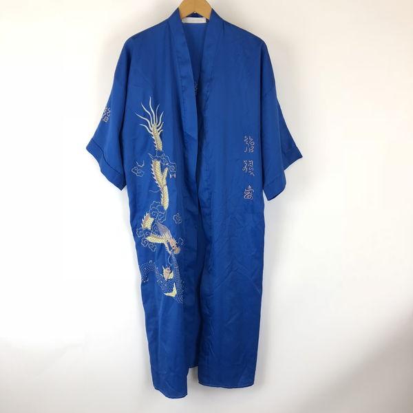 【古着】 チャイナガウン ドラゴン刺繍 ドロップショルダー 半袖 ブルー系 メンズXL 【中古】 n008743