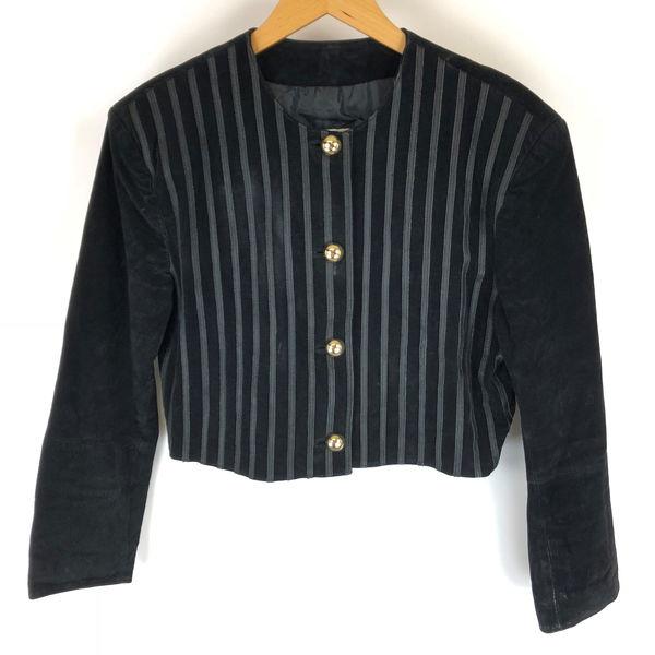 【古着】 Patti penn スウェードジャケット ショート丈 ブラック系 レディースL 【中古】 n009399