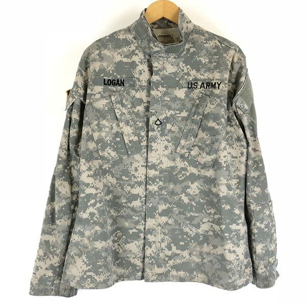 U.S ARMY BDUジャケット ACU リップストップ デジタルカモ 迷彩 カモフラ柄 ワッペン付き オリーブ系 メンズS n010183