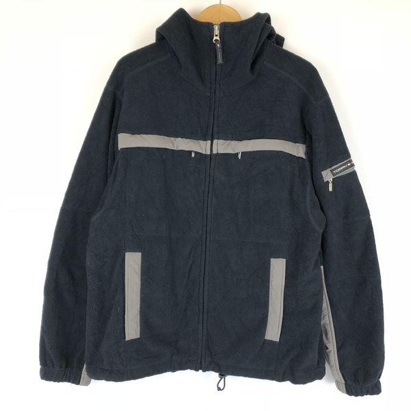【古着】 TOMMY HILFIGER トミー・ヒルフィガー フリースジャケット 切替えデザイン フード付き ブラック系 メンズM n011452