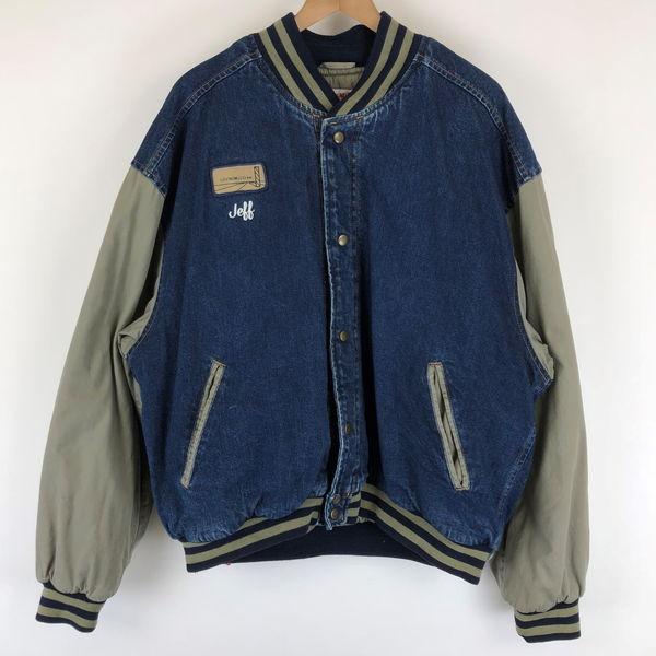wearguard デニムスタジャン デニム×コットン 内ポケットあり ワンポイント刺繍 ネイビー系 メンズXL