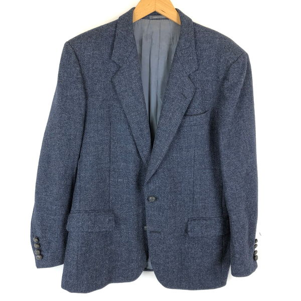 【古着】 HarrisTweed ハリスツィード ツイードジャケット 無地 ネップ 無地 ヴィンテージ ネイビー系 メンズM n013012