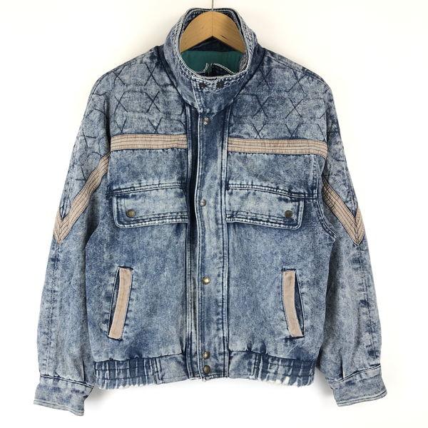 レディースデニムジャケット ケミカルウォッシュ 裏地付き 内ポケット付き 80年代 ブルー系 レディースM n013381