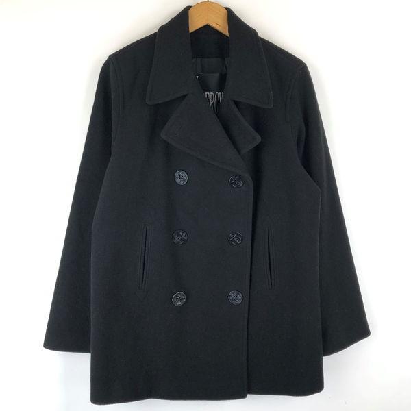【古着】 J.PERCY Pコート made in USA 薄手 ウール素材 オーバーサイズ ブラック系 レディースS 【中古】 n013467