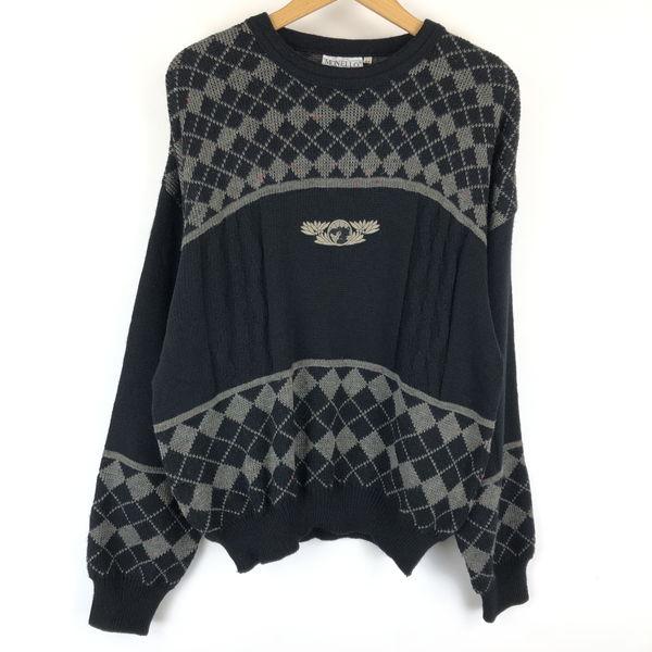 【古着】 MONELLO 総柄セーター made in ITALY 刺繍 アーガイル 切替デザイン カラーネップ ブラック系 メンズL n013556