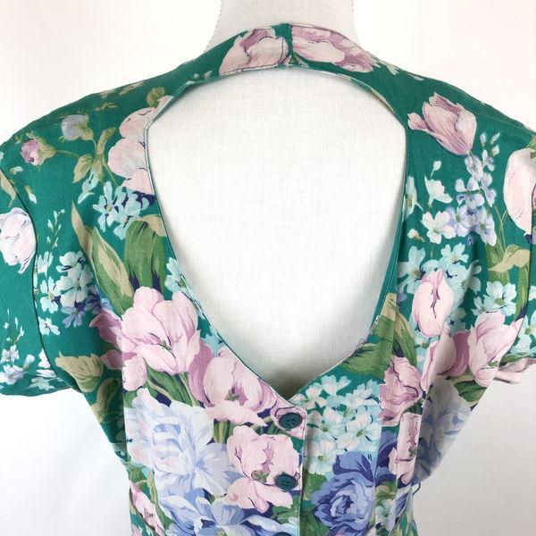花柄ワンピース フレンチスリーブ ベルト付き 80年代 ヴィンテージ 半袖 グリーン系 レディースXL以上 n01698454jSc3RLAq