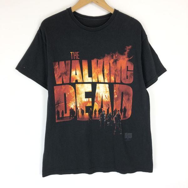 【古着】 ムーヴィー・映画Tシャツ THE WALKING DEAD ウォーキングデッド ホラー映画 ゾンビ ブラック系 メンズL n017764