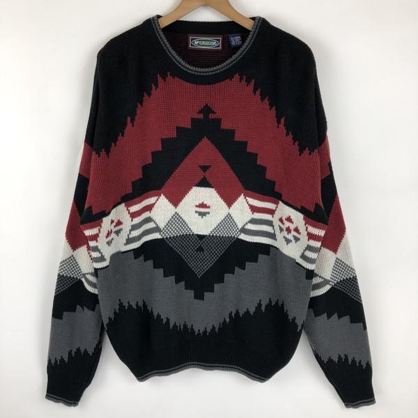 McGREGOR マックレガー 総柄セーター チマヨ柄 ジャガード 80-90年代 ヴィンテージ ブラック系 メンズXL n021475