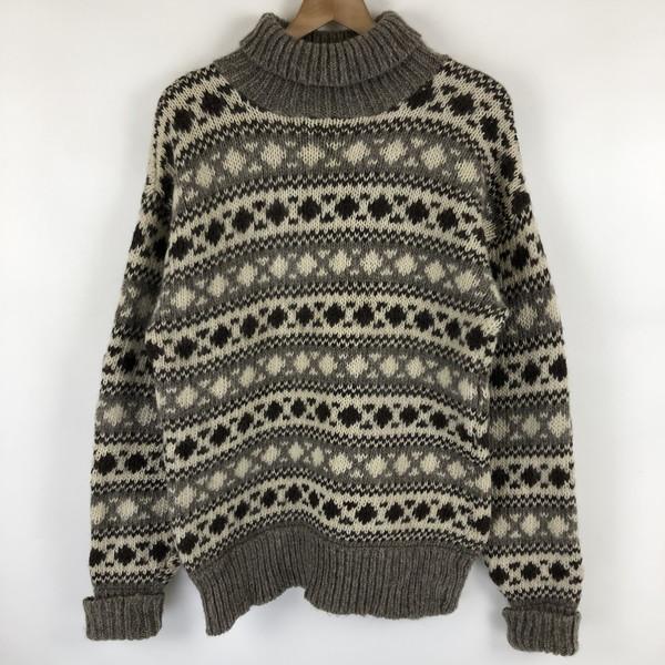 【古着】 ノルディックセーター 総柄 タートルネック デンマーク製 ヴィンテージ ブラウン系 メンズM n021796