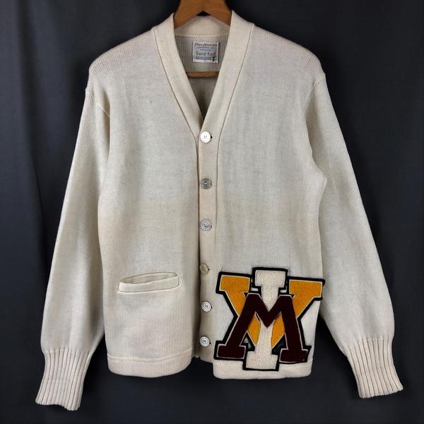 【古着】 sand knit Pres brown's レタードカーディガン 60年代 ヴィンテージ ホワイト系 メンズL 【中古】 n022471