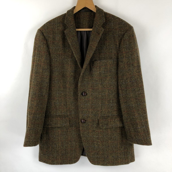 ハリスツイード walbusch ウールジャケット テーラードジャケット 格子柄 80年代 イエロー系 メンズL
