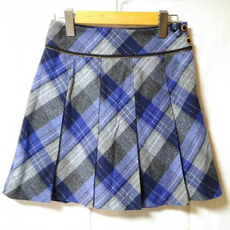 プライドグライド prideglide 表記サイズ:36 青 ブルー X 黒 ブラック 灰 SALE 豊富な品 グレー スカート Short 古着 ミニスカート USED Skirt 10002656 チェック Mini 中古