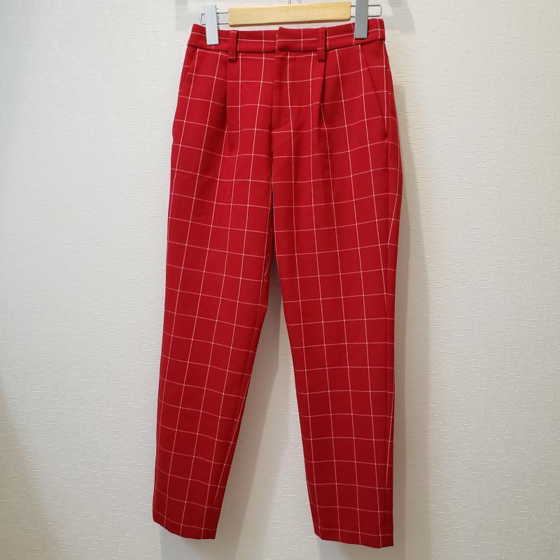 イネド INED 表記サイズ:7号 赤 特別セール品 レッド X 白 激安 ホワイト 古着 USED 10003493 パンツ 中古 9分丈 スラックス チェック