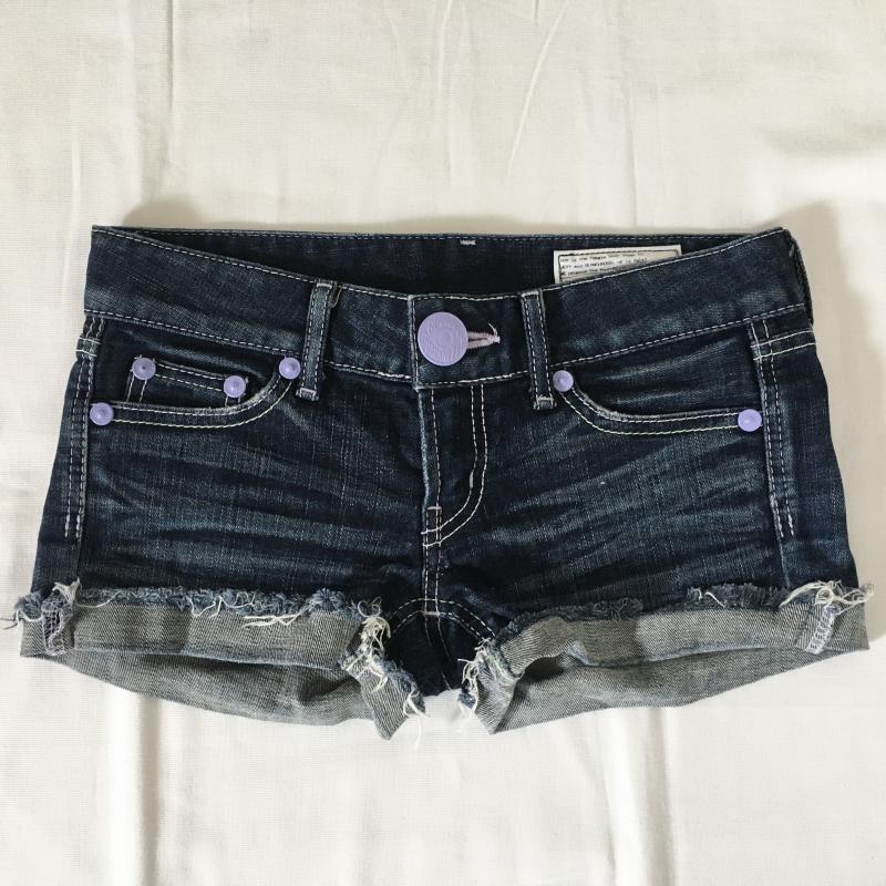 スライジーンズ SLY JEANS 表記サイズ:0 インディゴ 迅速な対応で商品をお届け致します ダメージ加工 ショートパンツ パンツ USED プレゼント Shorts 中古 Short 古着 10008620 Trousers Pants