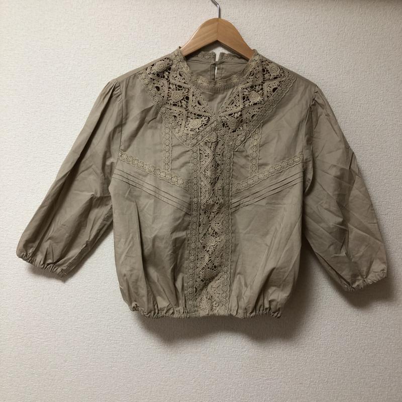 販売実績No.1 本物 レイカズン Ray Cassin 表記サイズ:FREE ベージュ 無地 X 10009785 古着 七分袖 USED カットソー 中古 刺繍