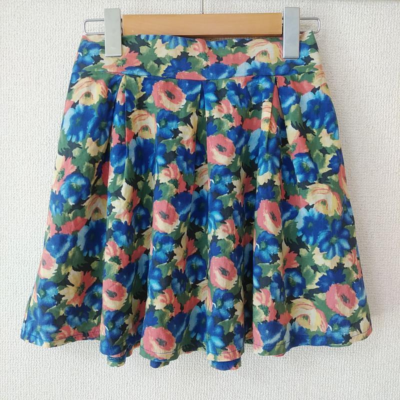 イング INGNI 表記サイズ:表記無し 青 ブルー X 黄 イエロー お求めやすく価格改定 橙 オレンジ スカート 花柄 緑 グリーン 市販 ミニスカート 10010700 中古 総柄 USED 古着