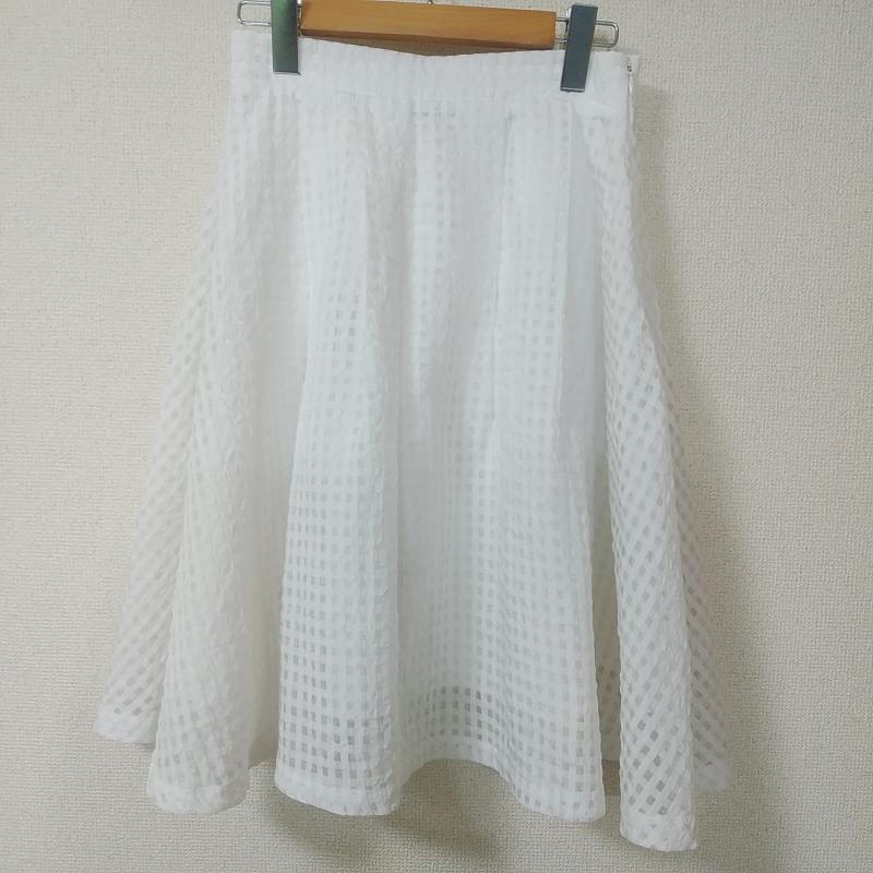 マホ Maho ラッピング無料 表記サイズ:38 白 ホワイト チェック 中古 現金特価 ひざ丈スカート スカート 古着 10011032 USED