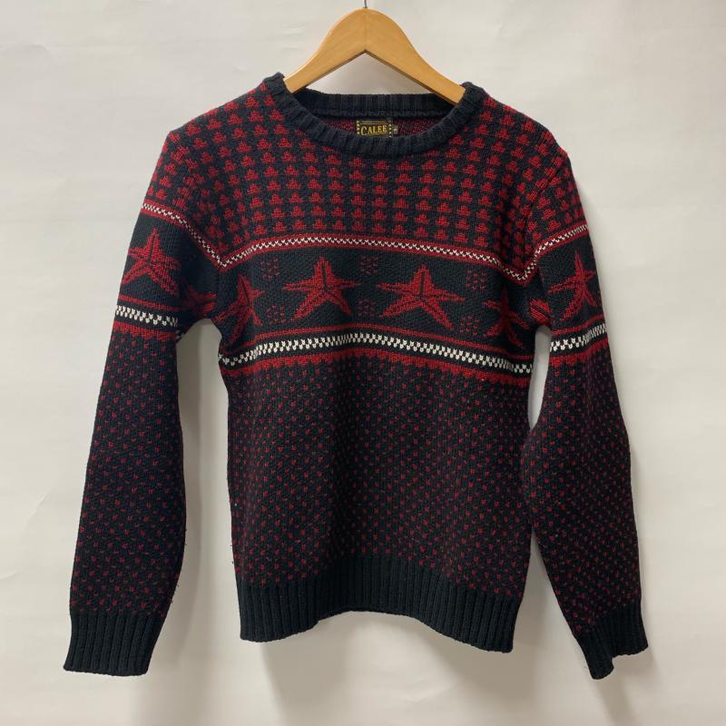 キャリー CALEE 表記サイズ:S 黒 ブラック 春の新作続々 X 赤 レッド 星 長袖 ニット USED Knit ノルディック柄 古着 Sweater 10012441 ウールニット 1着でも送料無料 星柄 セーター 中古