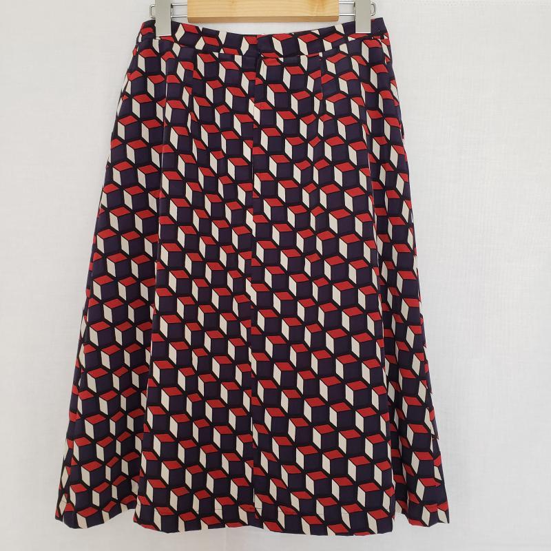 ダブル 人気ブレゼント スタンダード クロージング DOUBLE STANDARD CLOTHING 表記サイズ:38 白 ホワイト X 青 ブルー USED ひざ丈スカート 中古 Aラインスカート スカート レッド 選択 赤 Medium 古着 Skirt 10014165 その他