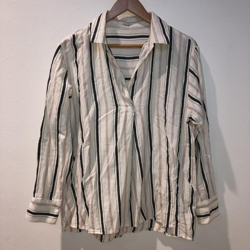 セポ cepo 表記サイズ:M 白 ホワイト X 灰 グレー 赤 レッド Blouse Shirt USED 中古 シャツ 10017017 ストライプ 長袖 古着 ついに再販開始 ブラウス 限定モデル