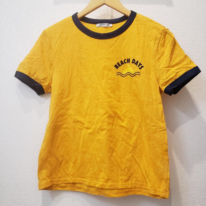 ザラ ZARA TRAFALUC 表記サイズ:M 送料無料激安祭 橙 オレンジ X 紺 ネイビー セール品 ロゴ USED 半袖 中古 無地 文字 古着 T 10017120 Shirt Tシャツ