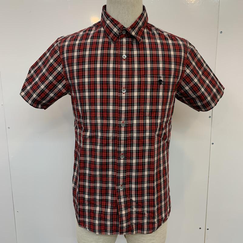 クエンチラウド QUENCHLOUD 表記サイズ:2 100%品質保証! 白 ホワイト X 黒 ブラック 赤 レッド チェック カジュアルシャツ 中古 国内在庫 半袖 ブラウス 10023763 古着 USED シャツ Blouse Shirt