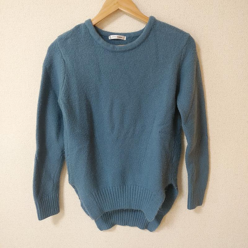 ドナマリー DONA MARIE 表記サイズ:40 水色 ライトブルー 無地 長袖 Sweater 供え セーター 特売 ニット Knit USED 10031316 古着 中古