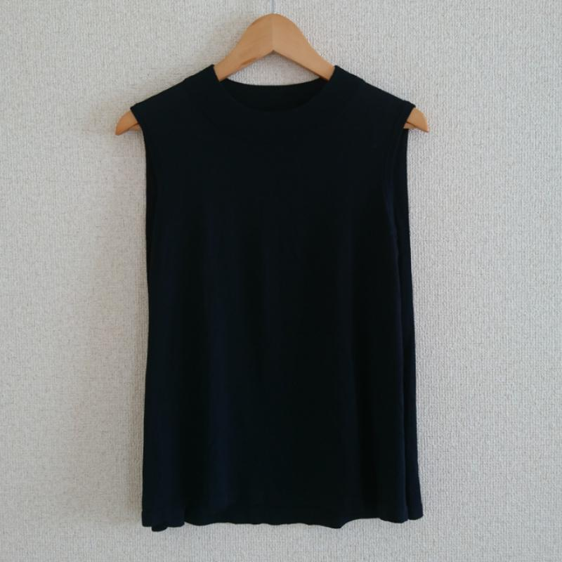 安売り 希望者のみラッピング無料 エスプリミュール ESPRITMUR 表記サイズ:M 黒 ブラック 無地 半袖 ニット ノースリーブ 10033193 中古 Sweater Knit セーター 古着 USED