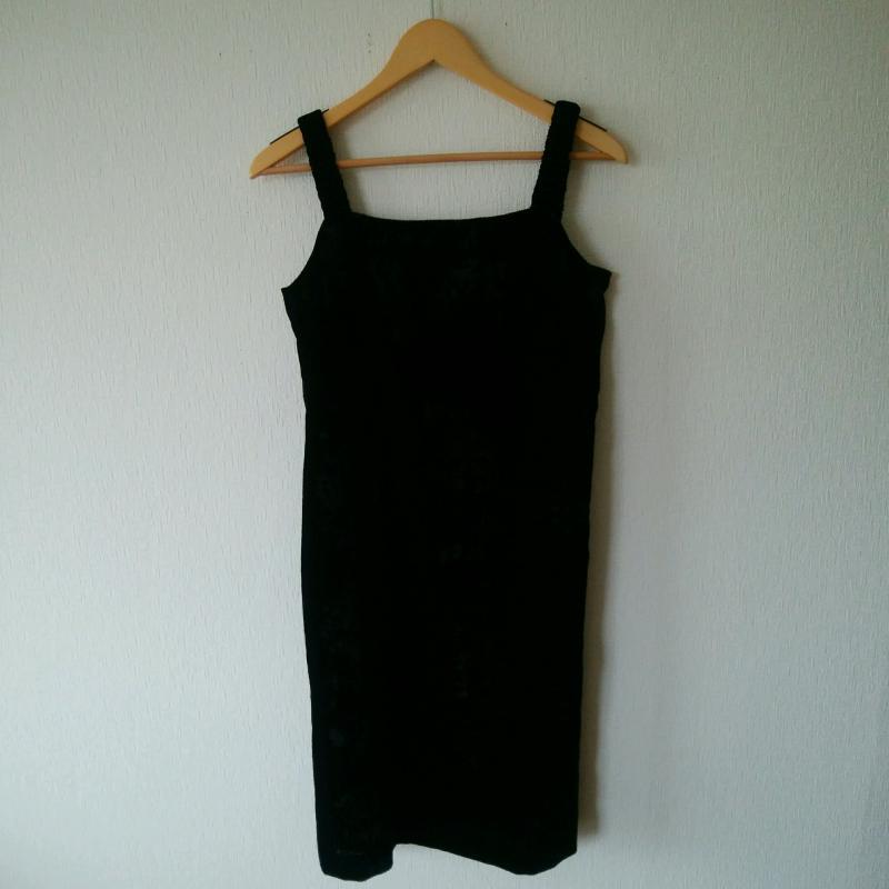 保障 フラジール FRAGILE 表記サイズ:38 黒 ブラック [ギフト/プレゼント/ご褒美] 無地 ひざ丈スカート ワンピース Medium 古着 USED One-Piece 中古 10035222 Skirt