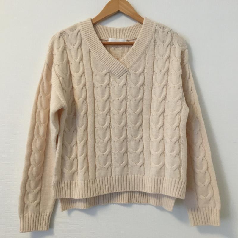 フーズフーチコ who's who Chico 表記サイズ:FREE 桃 ピンク 無地 長袖 古着 祝日 ニット Sweater Knit USED 超定番 中古 セーター 10035531
