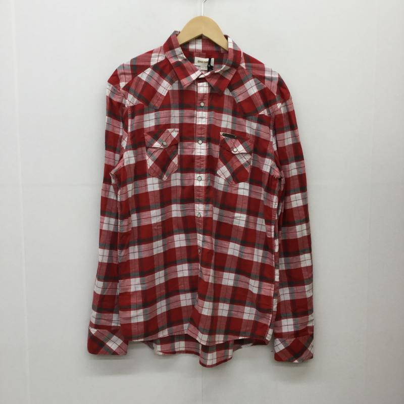 ディーゼル DIESEL 表記サイズ:XL 白 ホワイト 舗 X 灰 グレー 『4年保証』 赤 レッド チェック 10037833 Blouse シャツ 中古 長袖 Shirt USED ブラウス 古着