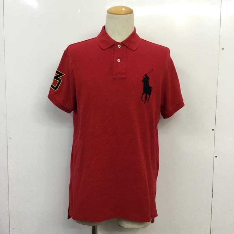 ポロバイラルフローレン Polo by メーカー直送 RALPH LAUREN 表記サイズ:L 赤 レッド ロゴ USED 古着 半袖 ポロシャツ Shirt 中古 人気の製品 10038680 文字