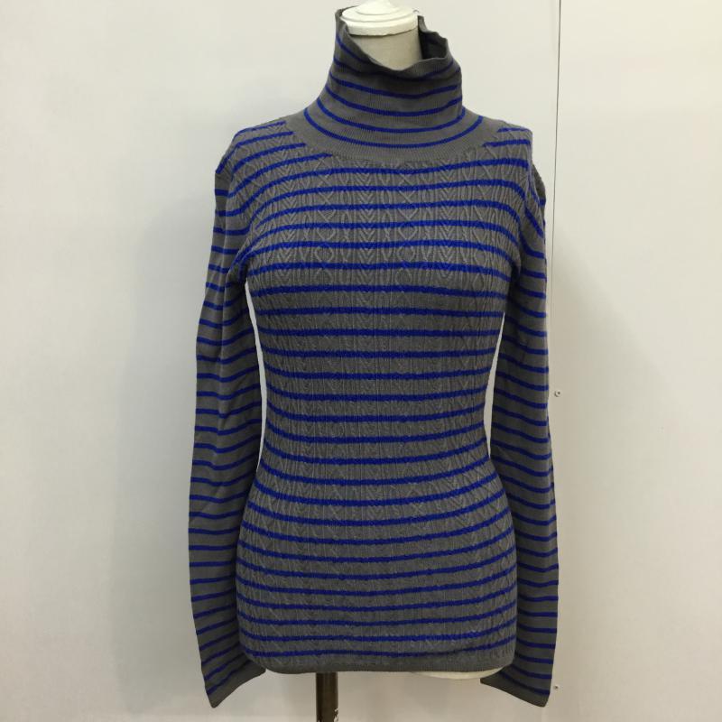 スライ SLY 表記サイズ:1 新品 灰 グレー X 青 ブルー ボーダー柄 長袖 古着 USED 中古 Sweater 10043248 セーター Knit ボーダー ニット タグ付 祝日