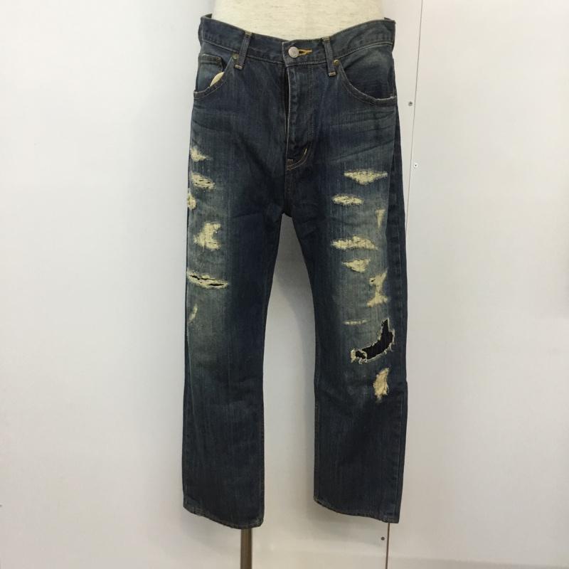 ナノユニバース 並行輸入品 nano universe 表記サイズ:L インディゴ 無地 デニム ジーンズ パンツ 10043631 Trousers 卸売り 中古 Jeans ダメージデニム USED Pants Denim 古着