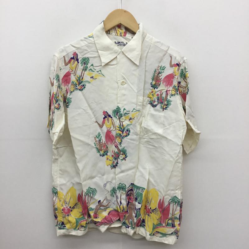 サンサーフ SUN SURF 表記サイズ:M 白 ホワイト 総柄 半袖 チープ USED Blouse ブラウス 中古 シャツ 10052443 古着 激安 Shirt