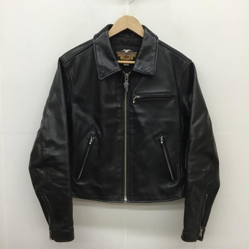 日本産 ハーレーダビッドソン Harley-Davidson 表記サイズ:M 黒 ブラック 2020新作 レザージャケット ジャケット 上着 Jacket 古着 カウレザー USED 中古 シングルライダースジャケット 10057232 40181