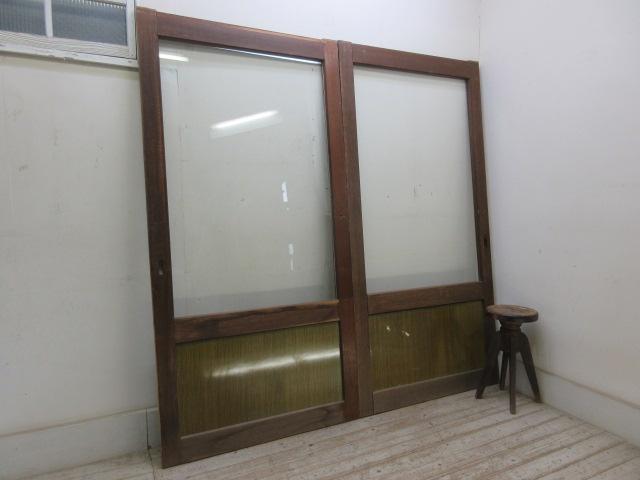 古い木味のガラス引戸2枚一組A5