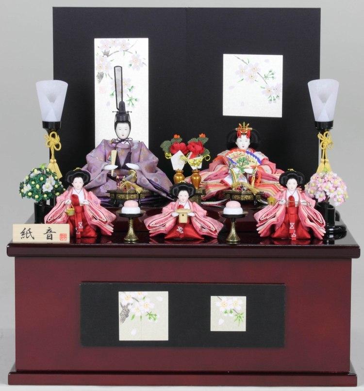 雛人形 ひな人形 【五人収納箱飾り 衣装着飾り】 段飾り 収納飾り コードレス燭台