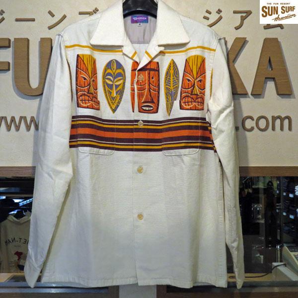 【Sun Surf(サンサーフ)】TIKI NEXUS by SHAG コーデュロイスポーツシャツ【SS27971】105番色(ホワイト)【アロハシャツ】【ネルシャツ】【東洋エンタープライズ】