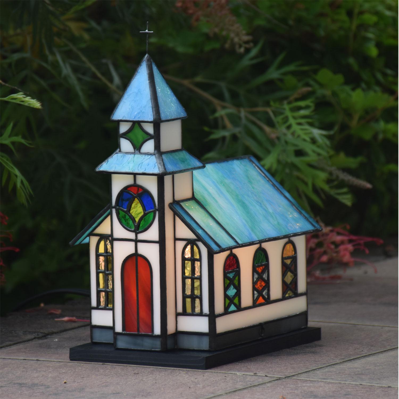 ガーデンライト チャペル 屋外用 防雨タイプステンドグラス ガーデンランプ 庭園灯 外灯 屋外照明 LED 対応 洋風 ガーデン照明 ステンドグラスランプ おしゃれ 教会
