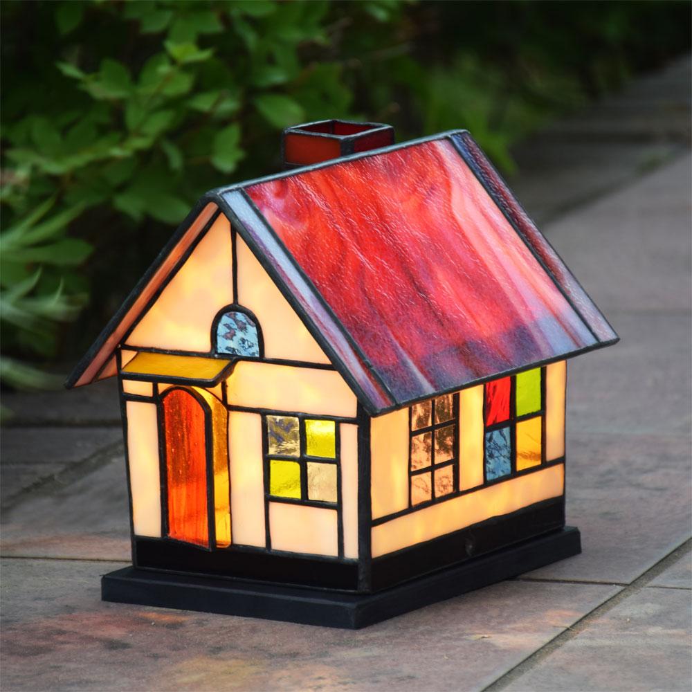 ガーデンライト ハウス1 屋外用 防雨タイプ ステンドグラス ランプ 屋外設置可能照明 庭園灯 外灯 エクステリア 屋外照明 100V照明器具 洋風ガーデン照明 ステンドガーデンライト