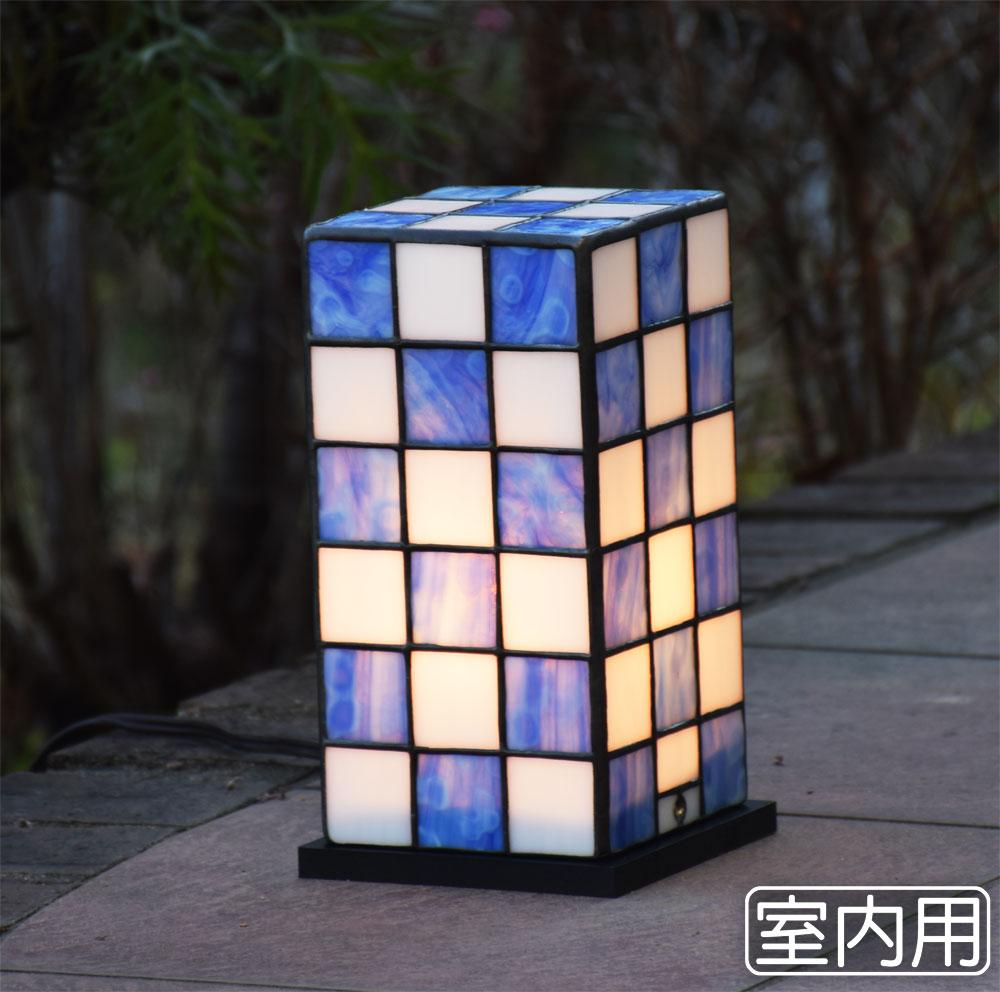 ステンドグラス ランプ 行燈 緑 室内用ステンドグラス ライト 室内照明 テーブルランプ 卓上照明 間接照明 100V LED 対応 洋風 和風照明 おしゃれ照明