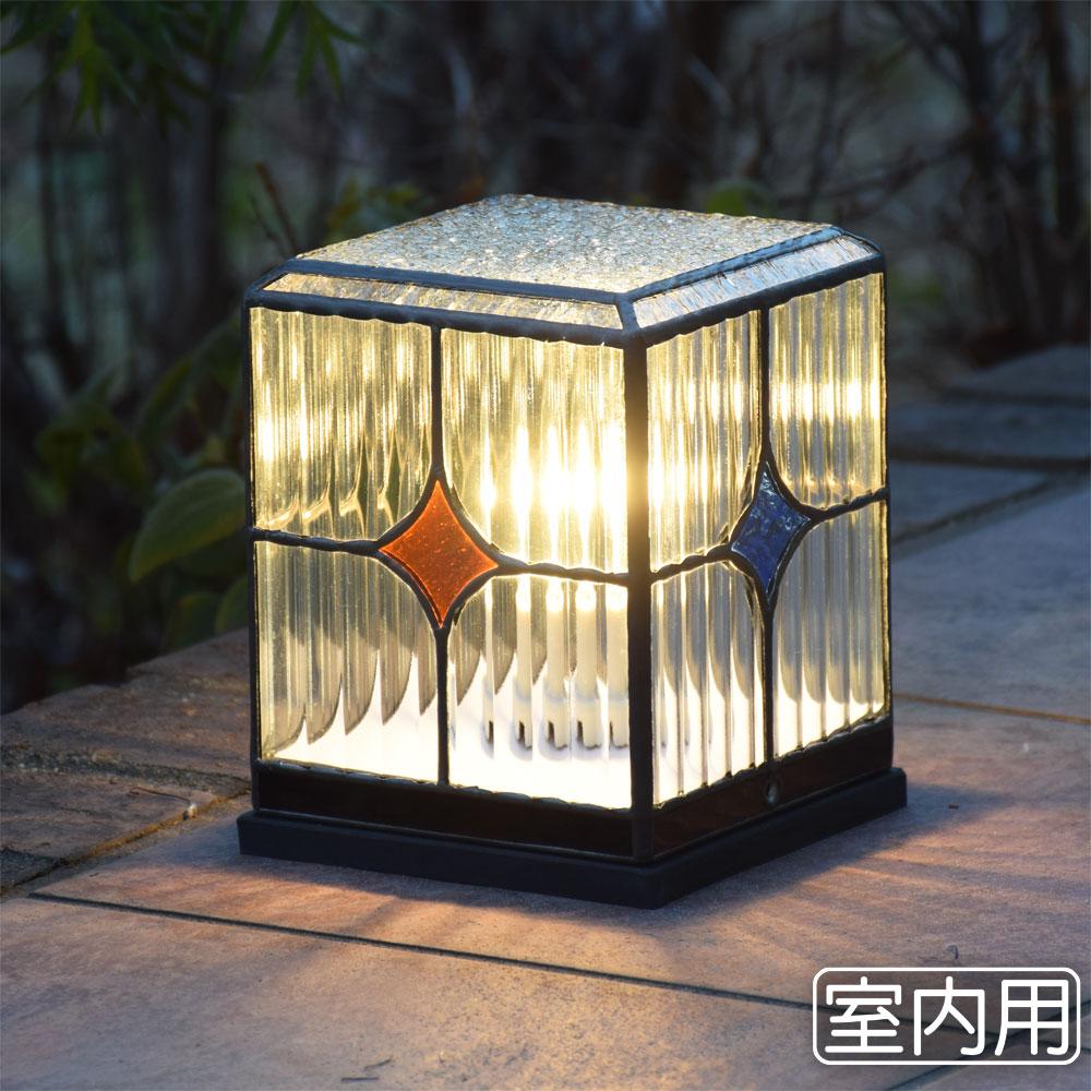 ステンドグラスランプ 行燈 スクウェア 室内用卓上灯 テーブルランプ 室内照明 間接照明 100V 照明器具 LED 対応 洋風 ガーデン照明 おしゃれ