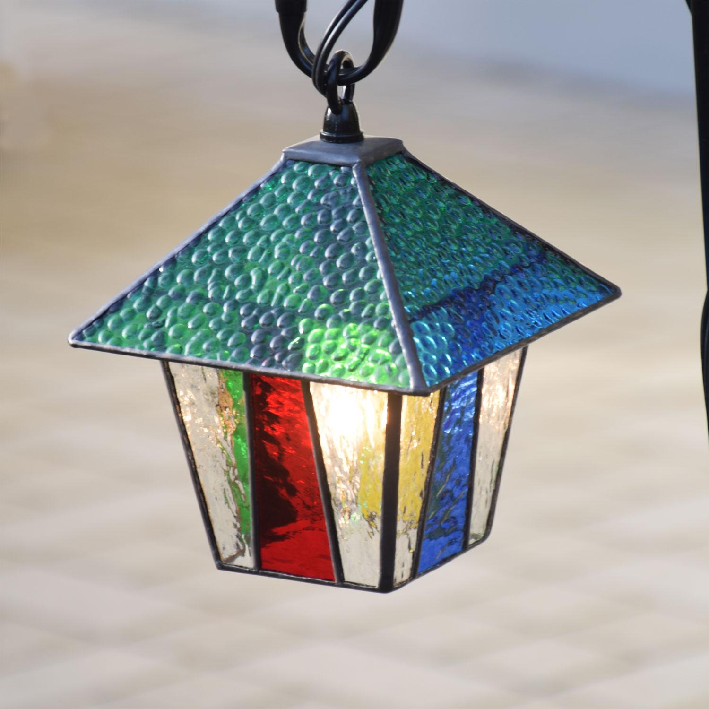 ステンドグラスガーデンライト 吊下げ式 1S-11(吊り金具付)ステンドグラス ガーデンランプ 屋外設置可能照明 庭園灯 外灯 エクステリア屋外照明 100V 照明器具 LED 対応 洋風ガーデン照明