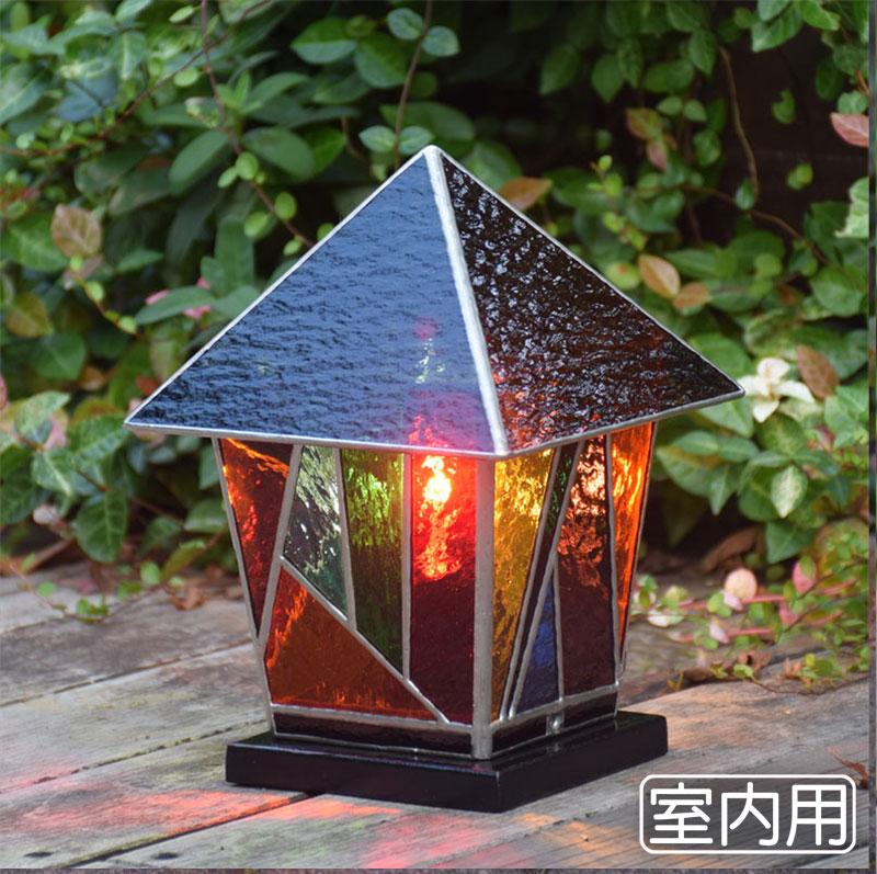 ステンドグラスランプ ランタン4 室内用ステンドガラス 卓上灯 テーブルランプ 間接照明 室内灯 100V照明 LED対応 おしゃれ照明 ステンドグラスライト