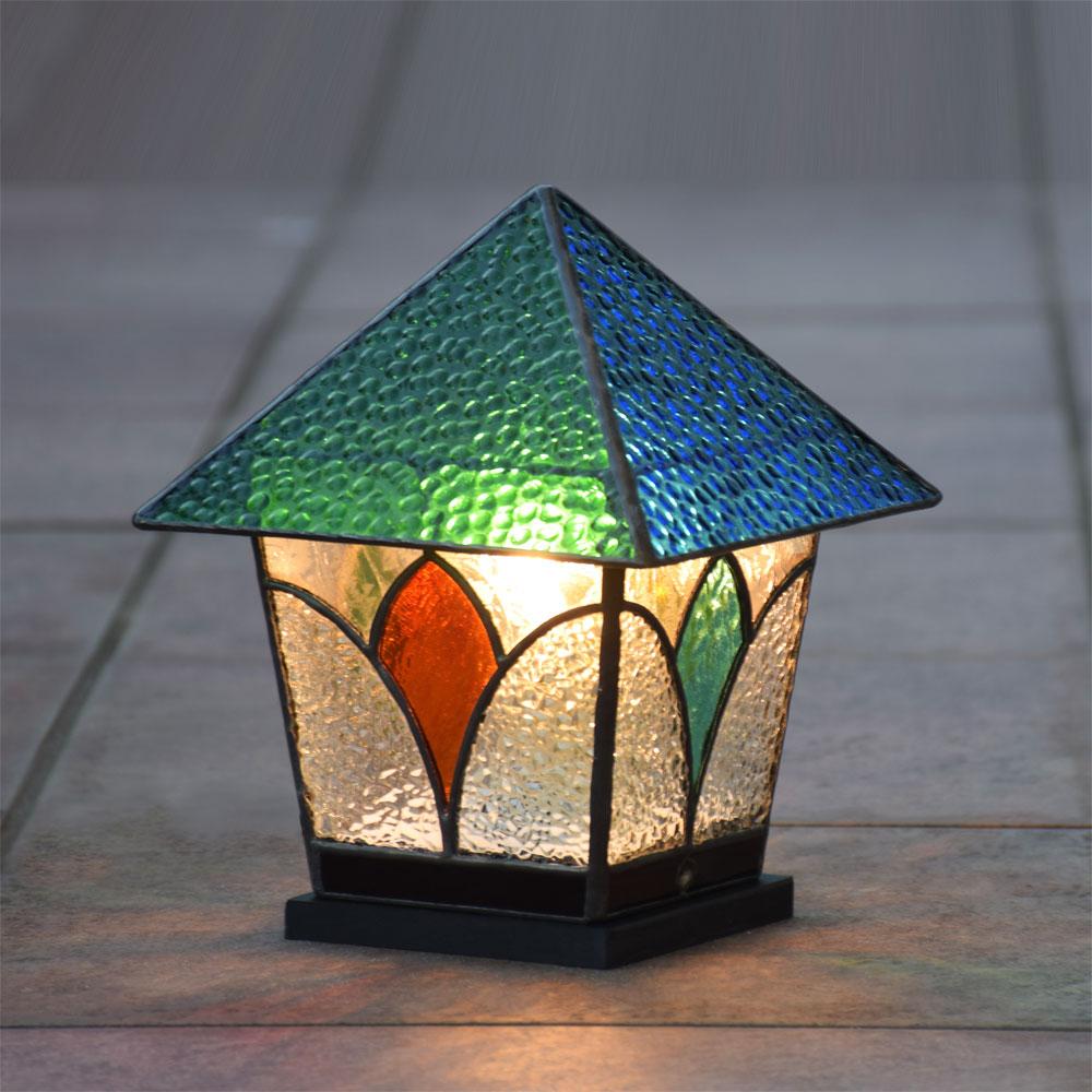 ガーデンライト ランタン 6 屋外用 防雨タイプステンドグラス ガーデンランプ 庭園灯 外灯 エクステリア 屋外照明 LED対応 洋風 和風 ガーデン照明 おしゃれ 癒し