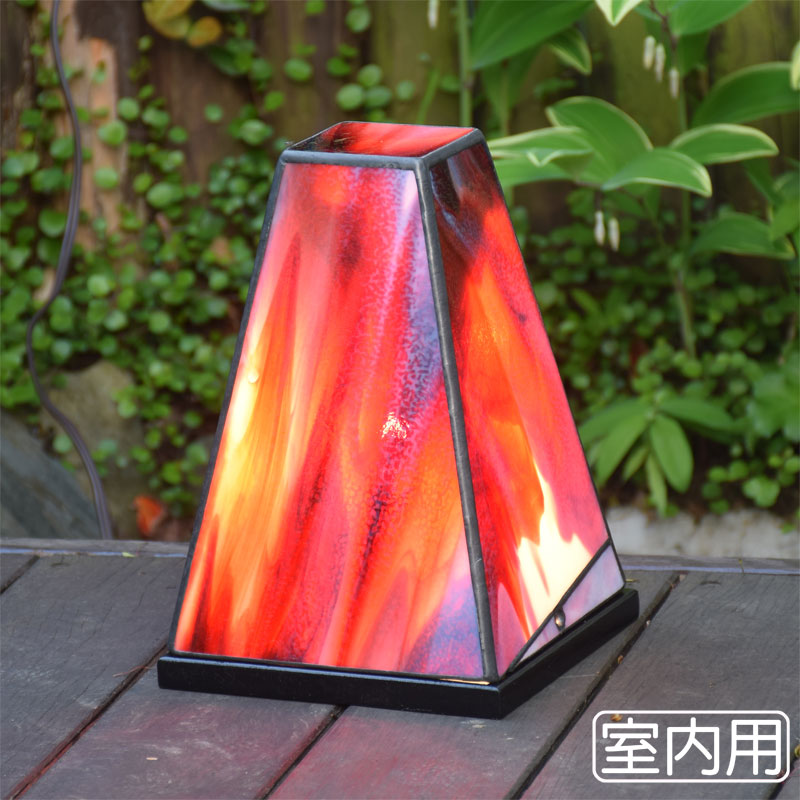 ステンドグラス ランプ 行燈 赤 室内用テーブルランプ 卓上灯 室内照明 間接照明 100v LED 対応 照明器具 洋風ガーデン照明 おしゃれ照明