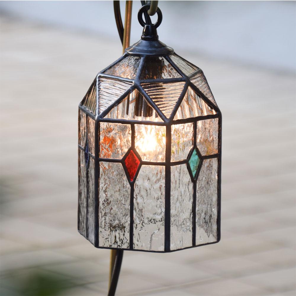 ステンドグラス ガーデンライト 吊下げ式 6K-20 吊り金具なし ガーデンランプ ステンドグラスランプ 庭園灯 外灯 玄関灯 エクステリア 屋外照明 ガーデン照明 100V 照明器具 LED電球 対応 洋風 おしゃれ