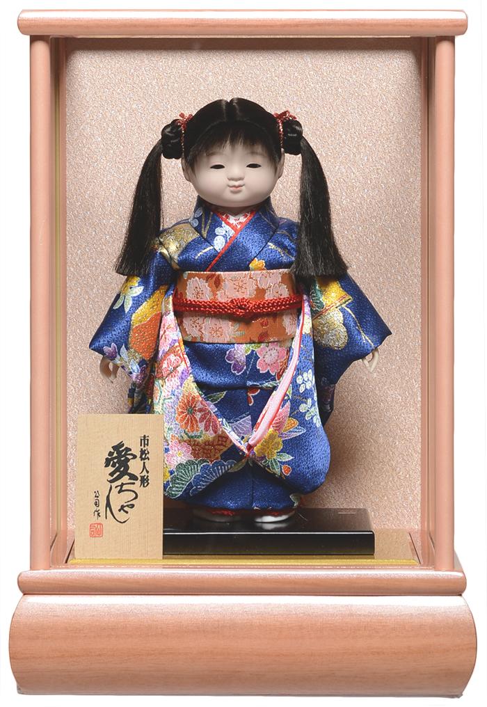 【雛人形】【ひな人形】【市松人形】8号市松人形:友禅衣裳ピンクケース付【愛ちゃん】:公司作【木目込市松人形】【浮世人形】
