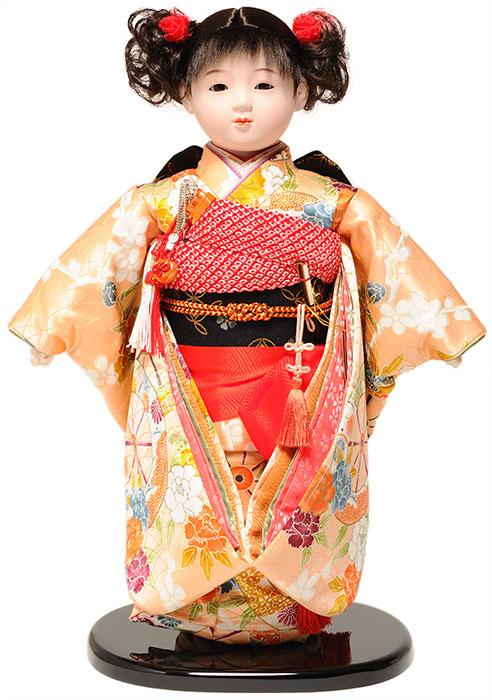 【ひな人形】【市松人形】市松人形 13号市松人形:正絹京染衣装(カール):翠華作【木目込市松人形】【浮世人形】